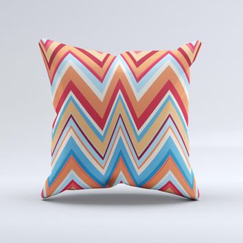 Coral & Red Chevron Zig Zag Pattern V43 Ink-Fuzed Decorative Throw Pillow