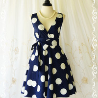 My Lady II Spring Summer Sundress Navy Dress Polka Dot Sundress Party Tea Dress Navy Bridesmaid Dresses Navy Summer Dress XS-XL