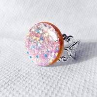 Deep Space Ring, Space Ring, Outer Space Jewelry, Glitter Ring, Galaxy Ring, Celestial Ring, OOAK Space Jewelry, Wooden Space Ring, Space