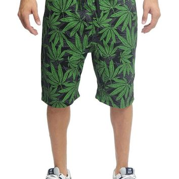 Dropcrotch Leaf Print French Terry Shorts JS417 - I5D