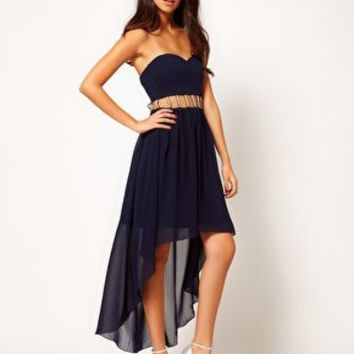 Rare Hi Low Dress With Pearl Cut Out at asos.com
