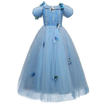 Fancy Winter Baby Girl Cinderella Dress Birthday Outfits Role-play Costume Girl Butterflies Kids&'s