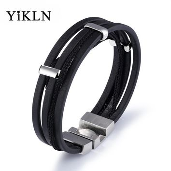 YiKLN New Arrival Multi Layers Genuine Leather Bracelets For Men Punk Braided Wrist Wrap Braclet Casual Jewelry Gift YPH1129
