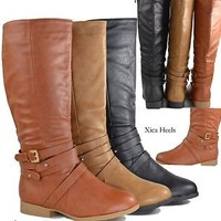 Women's Knee High Riding Boots Flat Buckle Strapy Faux Leather Boot Black New
