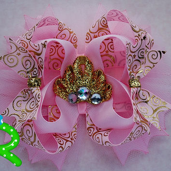 Pink and gold hair bow , pink and gold headband , pink and gold party