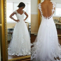 Ready To Ship Cap Sleeve Sweep Train Tulle Wedding Dress See Though Back Applique Lace Bridal Dresses Sexy Vestido De Noiva