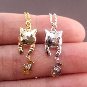 Cute Dangling Kitty Cat and Tiny Fish Shaped Charm Necklace in Gold or Silver