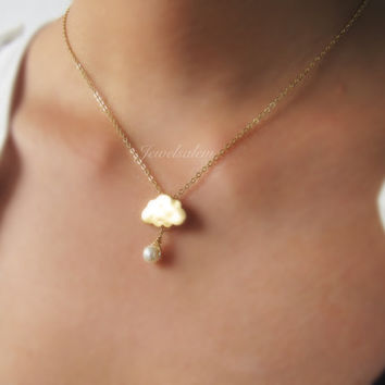 Cloud Necklace with Pearl Gold Charm Necklace Gift Whimsical Friendship Necklace Sister Necklace Bridesmaid Necklace Modern Jewelry C1
