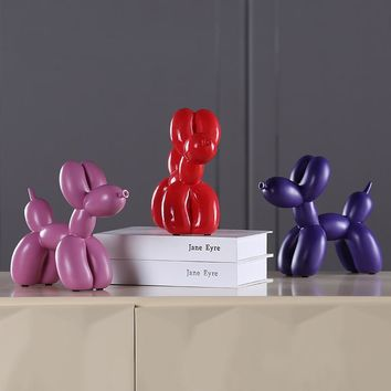 1 Pcs Fashion Balloon Dog Ceramic Resin Crafts Sculpture Creative Gifts Modern Simple Home Decorations Statues 8 Colors Ornament