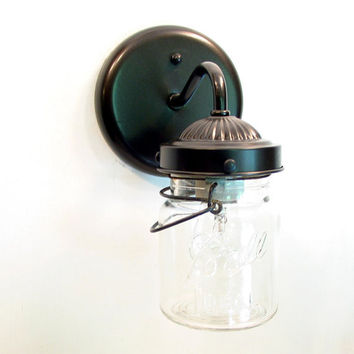 Vintage CLEAR Canning Jar SCONCE Light by LampGoods on Etsy