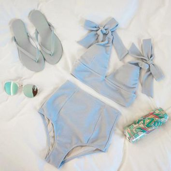 High waist new pure gray shoulder knot two piece bikini cute swimsuit