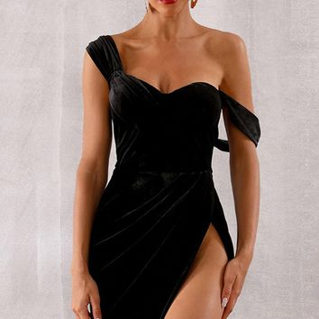 Dress Rehearsal Black Sleeveless Draped Off The Shoulder Side Slit Bodycon Mini Dress