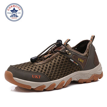 time-limited new outdoor hiking shoes men trekking summer mesh loafers slip on super cool sport water walking breathable