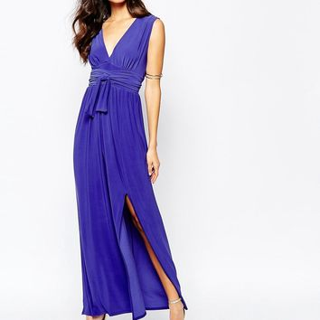 Love Plunge Neck Maxi Dress With Wrap Belt