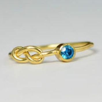 Solid 14k Gold Blue ZIrcon Infinity Ring