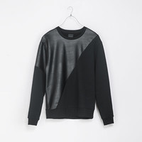 SWEATSHIRT WITH FAUX LEATHER DETAILING