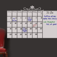 Dry Erase Wall Calendar Vinyl Decal Memo Board organizer for schedules and planner office decor