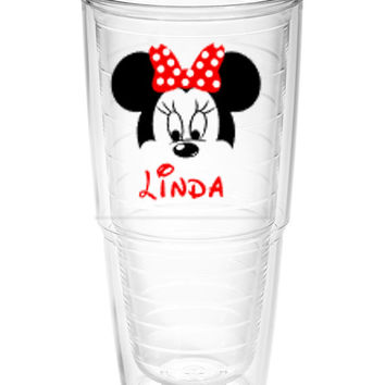 Minnie Mouse face with name Tumbler ~ Perfect gift for Disney lover ~ personalized Tervis cup 24oz - Mother's day gift - cruise cup
