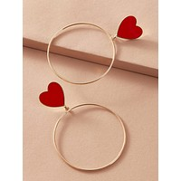 1pair Heart Decor Hoop Drop Earrings