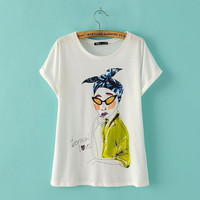 Character Print Short Sleeve Graphic Tee