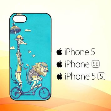 Funny giraffe lion safari bicycle V1484  iPhone 5|5S|SE Case