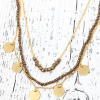 Me To We Coin Layered Short Necklace - Womens Jewelry - Gold - One