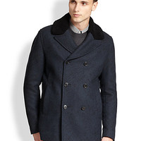 Shearling-Collar Peacoat