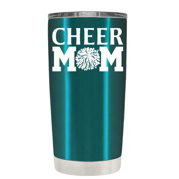 Cheer Mom Pom Pom on Teal 20 oz Tumbler Cup