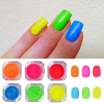 6 Boxes Fluorescent Nail Glitter Set Candy Color Neon Phosphor Pigment Powder Manicure Nail Art Decorations