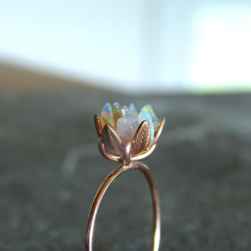 Unique Opal Ring, Lotus Flower Ring in Rose Gold, Uncut Opal Engagement Ring, Raw Rough Fire Opal Jewelry for Women, October Birthstone