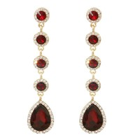 Red Drop Stone Earrings for Valentine's Day