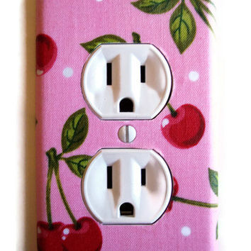 Pink Cherry Outlet Plate, wall decor