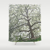 Shower Curtain - Tree Shower Curtain - White Cherry Blossom Tree - Rustic - Woodland Decor - Rustic Shower Curtain - Lake House Decor
