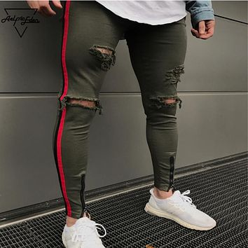 Men Side Red Striped Biker Jeans Denim Ripped Hole sweatpants Slim Supper Skinny Hip Hop Jean Joggers