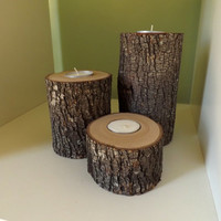 Set of 3 Rustic Candle Holders; Tealight Candles- Rustic Home Decor, Woodland Wedding