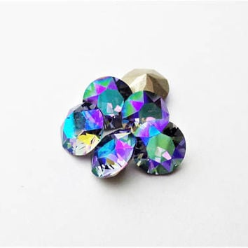 Six Tanzanite Glacier Blue 39ss 8mm 1088 Foiled Swarovski Xirius Pointed Back Chaton DKSJewelrydesigns
