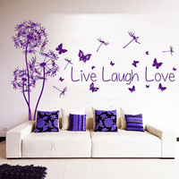 Floral Wall Decals Dandelion Decal Quote Live Laugh Love Decal Butterfly Vinyl Sticker Art Mural Home Interior Design Bedroom Decor KI130