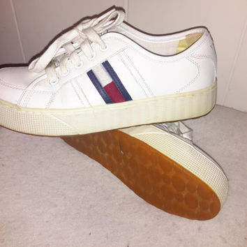 Vintage 90s Tommy Hilfiger White Shoes Platform Club Sneakers Spice Girl Shoes 90s polo nautica