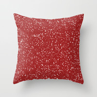 Red Glitter I Throw Pillow by Indulge My Heart