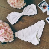 HOT CUTE TWO PIECE FLOWER SCALLOPED BIKINIS White