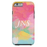 Monogram Watercolor Paint Colorful Tough iPhone 6 Case