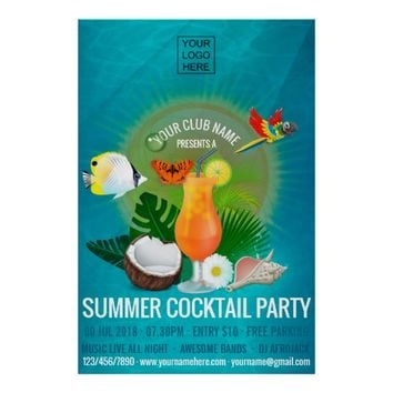 Summer Cocktails Club/Corporate Party Invitation Poster