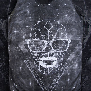 Skull space skull  Shirts Women Tank Top black Shirt Tunic Top Vest Sleeveless Women T-Shirt Size  M unisex cotton