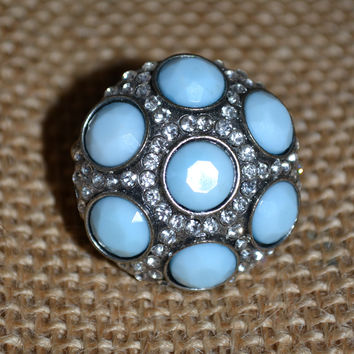 Blue And Silver Ring w/Rhinestones