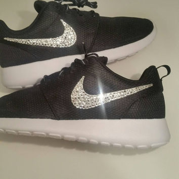 Nike Roshe Run Black With Swarovski Crysral Rhinestones - Bling Nikes 0986778071