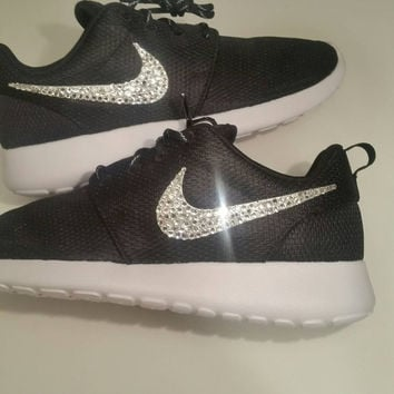 Nike Roshe Run Black With Swarovski Crysral Rhinestones - Bling Nikes, Bling Shoes, Blinged Out Nikes