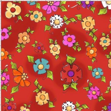 Happy Blooms Red Fabric