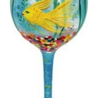 My Own World Hand-Painted Stemmed Glass