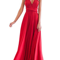Red Sleeveless V Neck Backless Maxi Dress with Sash not available