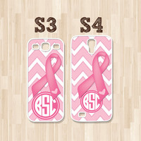 Personalized Samsung Galaxy S3, Samsung Galaxy S4, Breast Cancer Awareness Pink Ribbon Monogram, Phone Case, Christmas Gift (225)